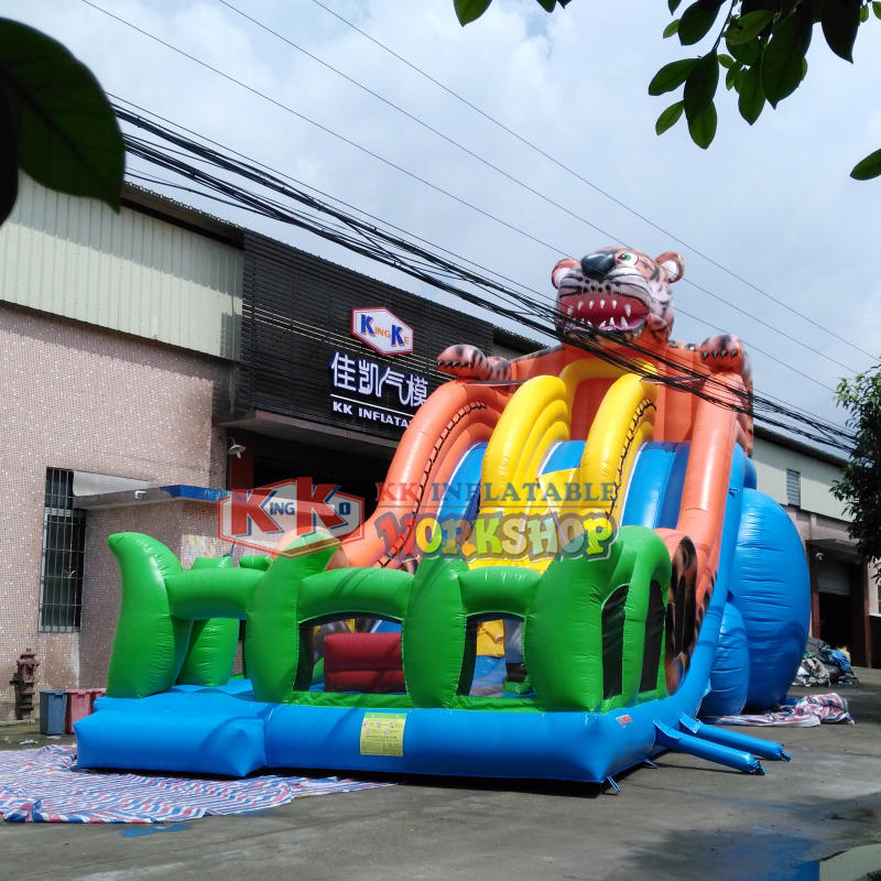 Attractive design big tiger inflatable slide fun city inflatable playground
