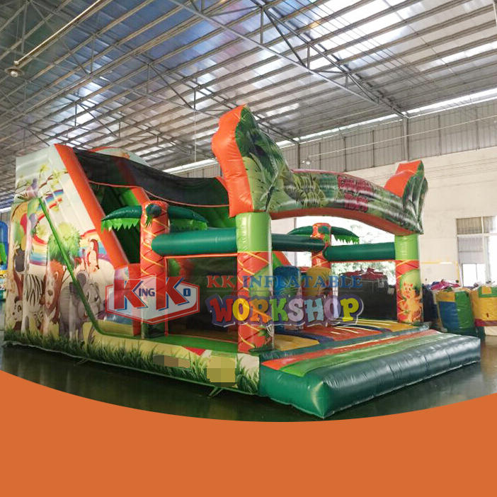 Inflatable Jungle Printing Slide Moonwalk