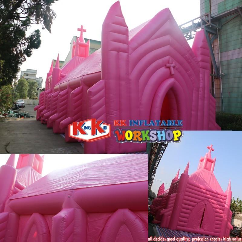 Giant building house balloon pink inflatable church , wedding church tent, church event marquee canopy