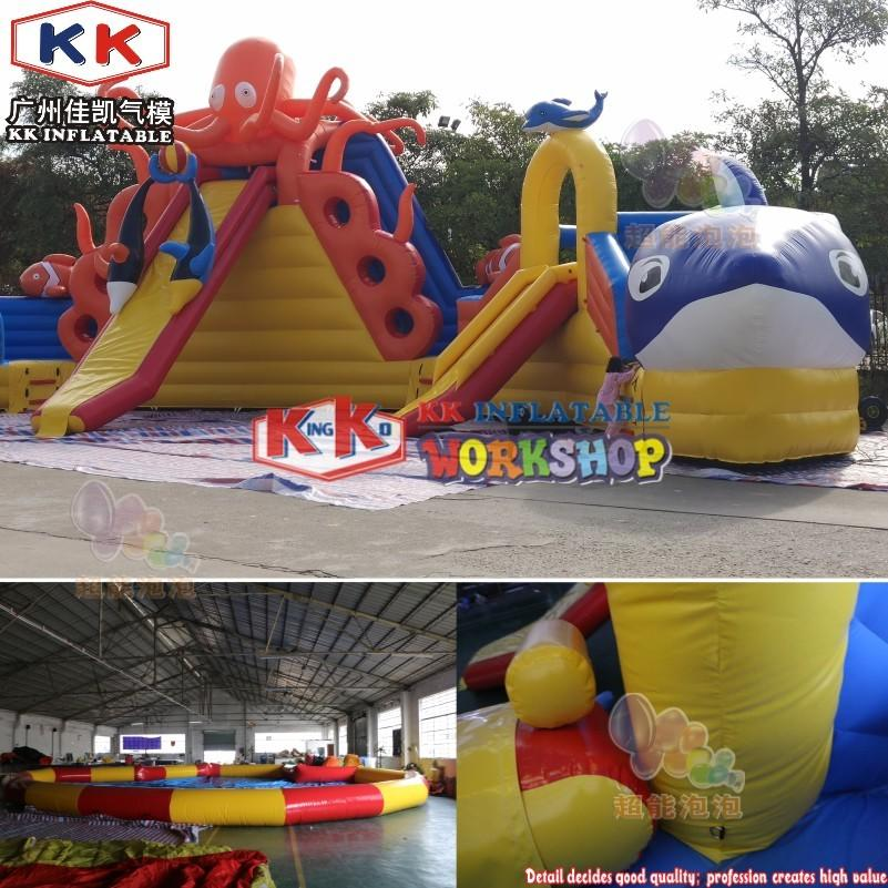 Underwater fish world inflatable water slides park, outdoor used inground inflatable pool slide park