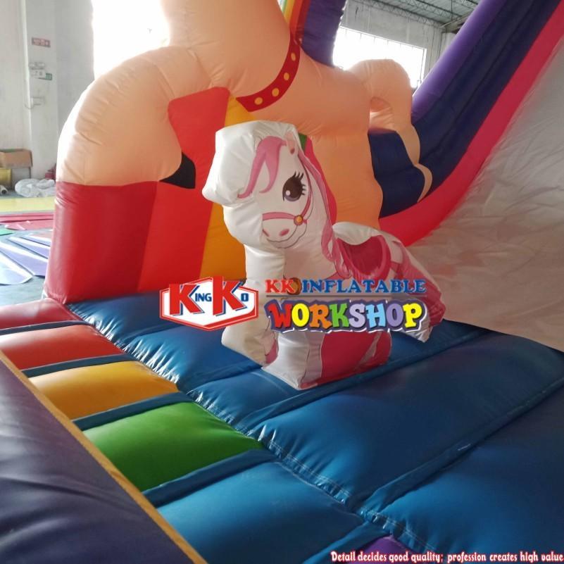 Princess Rainbow Unicorn Inflatable Castle Bouncy Castle Carriage Slide Customized
