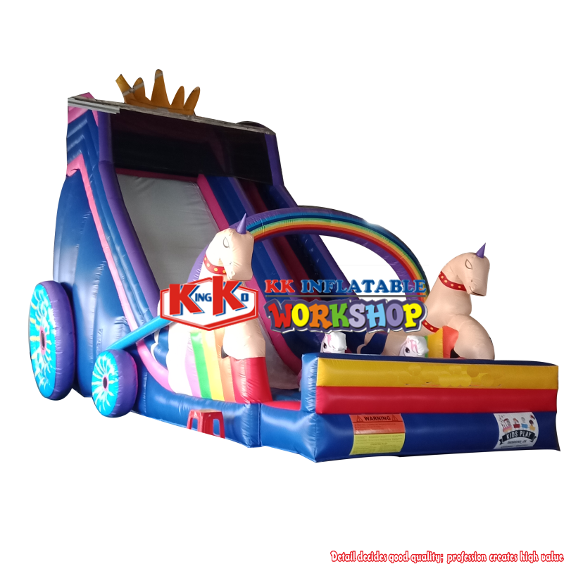 outdoor unicorn carriage slide inflatable jumping castle combo slide