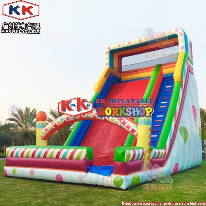 Commercial inflatable colorful Air balloon bouncer dry Slide for kids