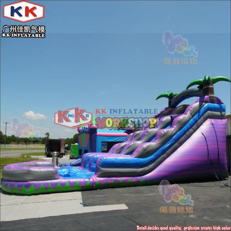 20FT tall outdoor inflatable Tropical Purple passion water slide with pool