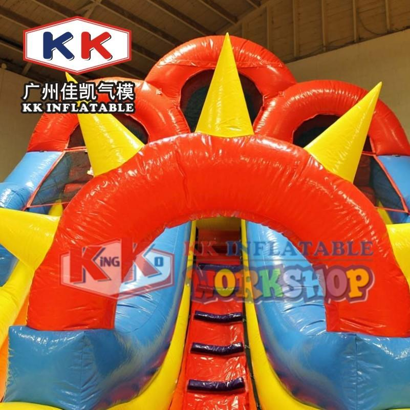 Double Hook Line Inflatable Water Slide With Double Pools Durable PVC Inflatable Pool Slide