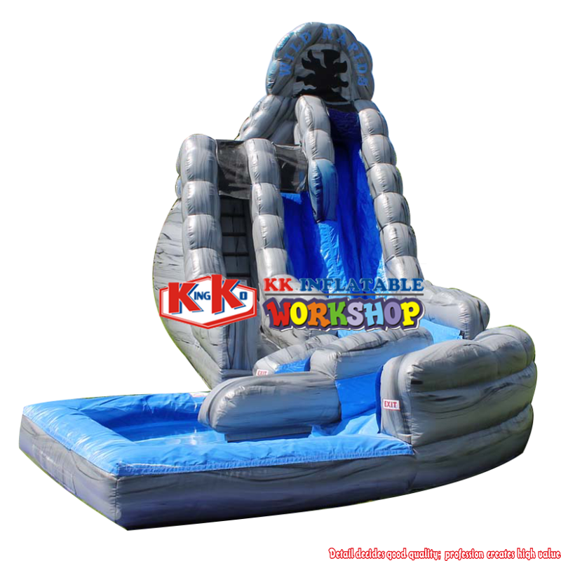 Gray Inflatable Water Slides Big Double Lane Wild Rapids With Pool