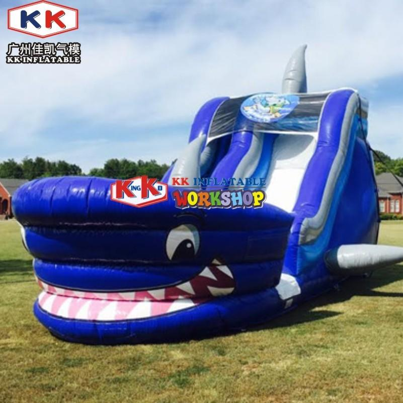 Waterproof Blue Shark Blow Up Slippery Slide Inflatable Lawn Water Slide For Kids And Adults