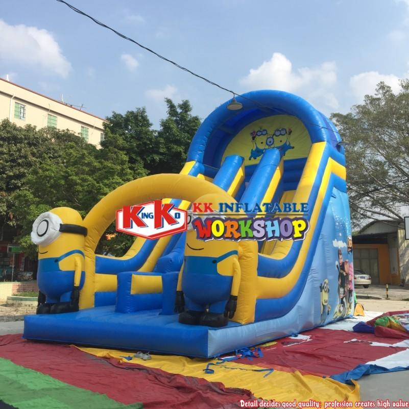 Outdoor Lovely Minions Family Inflatable Slide in Amusement Park