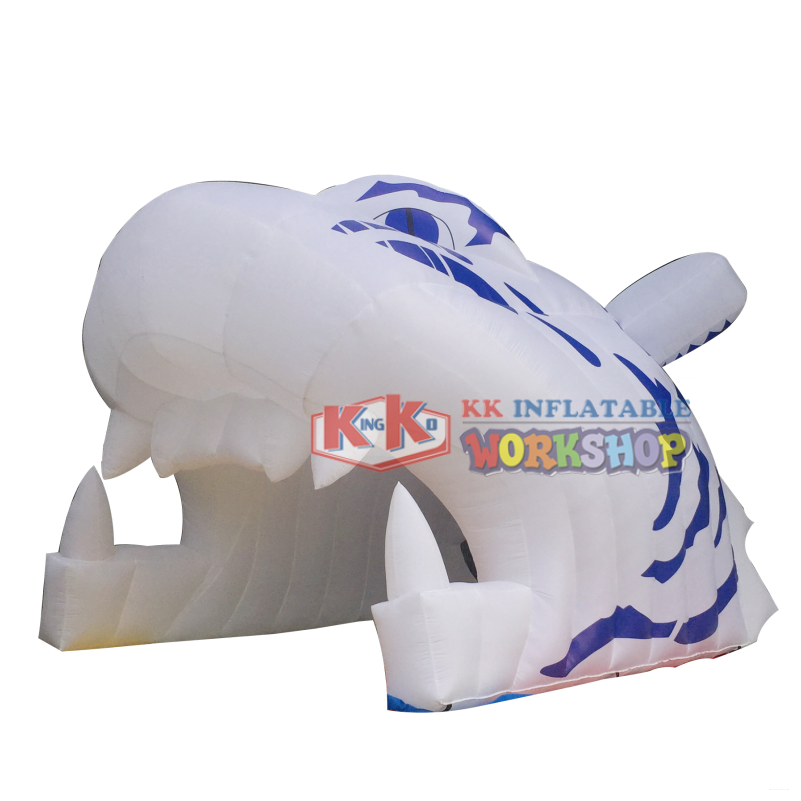 Advertising 210D nylon Inflatable Tiger Tunnel, Inflatable Tiger Entrance For Sports Event