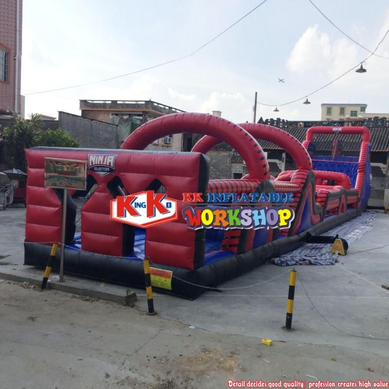 Long Radical Interactive Inflatable Obstacle Run Wall Battle Light Arena