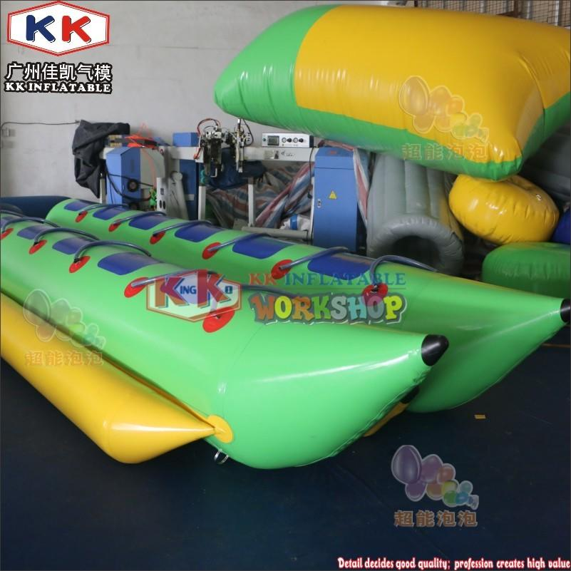 Factory Made10 12 1416 Passengers Light Green & yellow Inflatable PVC Banana Boats