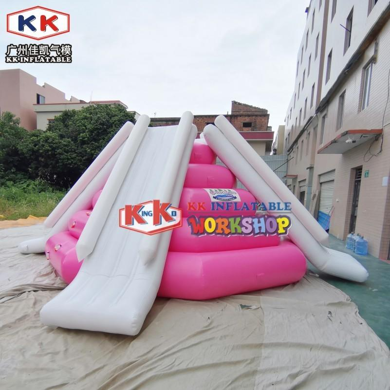 Pink Color Custom made Floating Round Tower Inflatable Water Slide for lake/sea water park