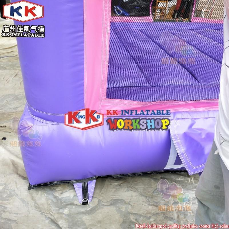 ultimate pink princess themed bouncy castle combomixed in purple&pink inflatable moonwalk with roof