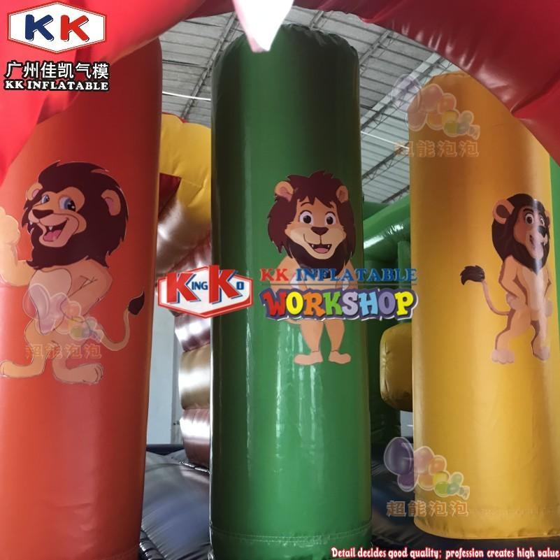 New arrival inflatable lion jumper combo, popular bouncy castle slide, commercial slide bouncing castle for rental