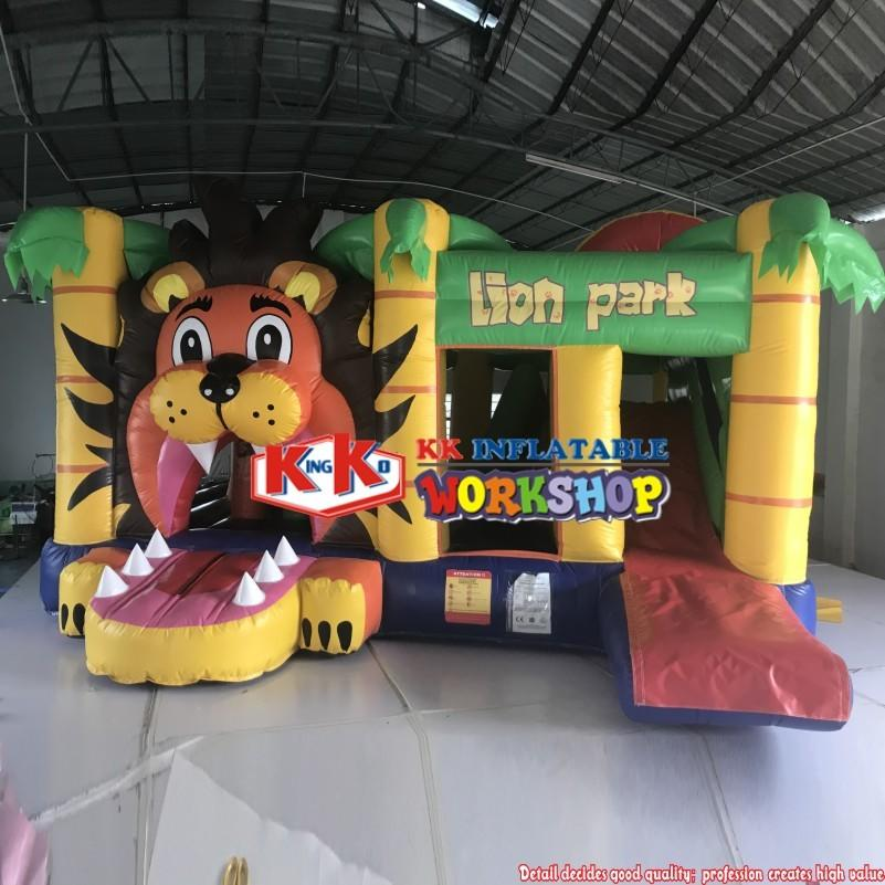 New arrival inflatable lion jumper combo, popular bouncy castle slide, commercial slide bouncing castle for rental