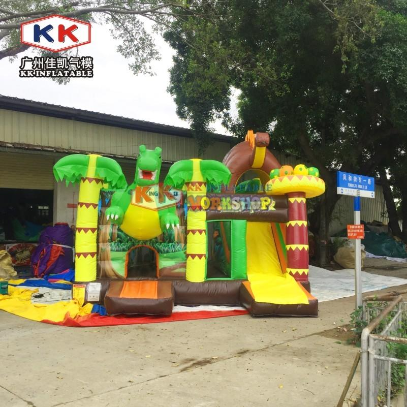 Commercial used outdoor PVC kids playground park cheap Dino park inflatable bouncer house combo slide jumping castle