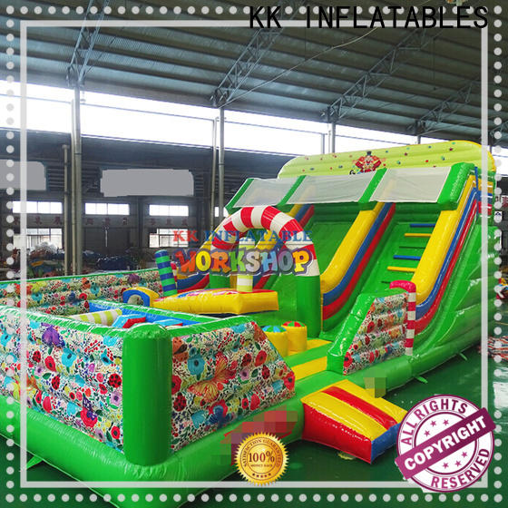 KK INFLATABLE fire truck moon bounce manufacturer for paradise