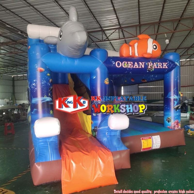 Printing ocean themed inflatable bouncing castle combo / Ocean Inflatables Castle Bouncy Jumping Beach Combo Bouncer Slide