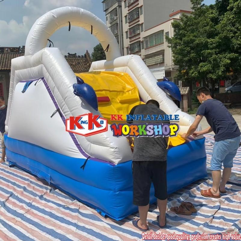 KK Inflatables home garden small carnival inflatable water splash slide with water ballpits pool