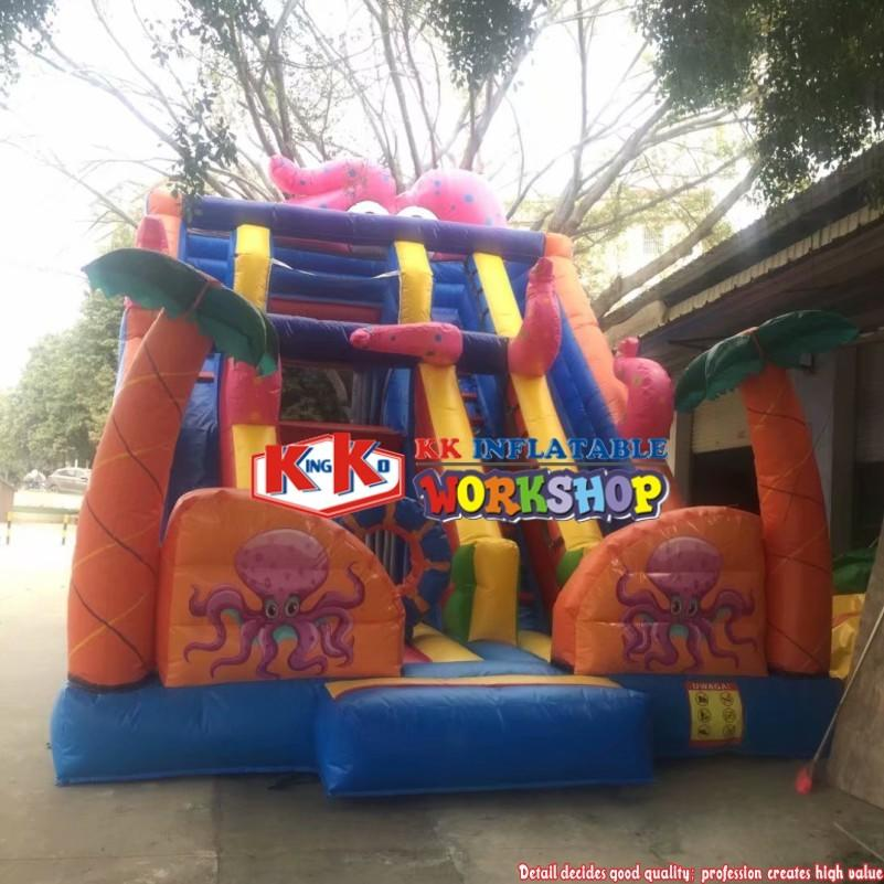 SGS Commercial Inflatable Dry Slides / Octopus Double Lane Slide For Children Big Fun