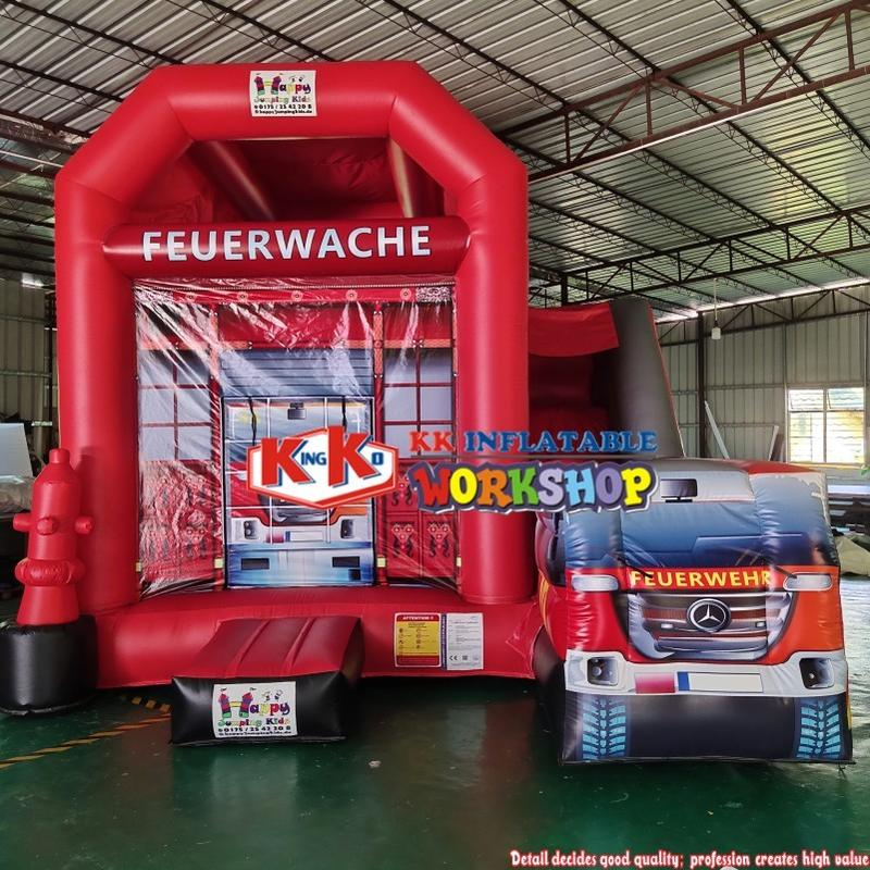 Guangzhou KK Fire Station & Fire Truck themed bounce house, 3 in 1 Kids slide combo