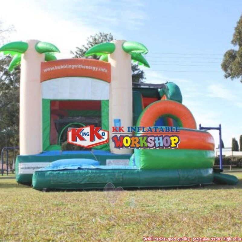 Plam Tree Inflatable Water Slide, Bouncer House Combo Inflatable Bouncer With Wet Slide For Rental