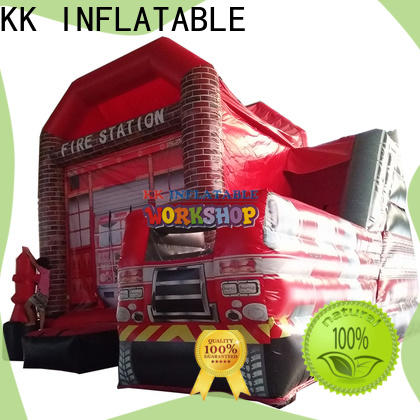 KK INFLATABLE fire truck shape big water slides various styles for playground