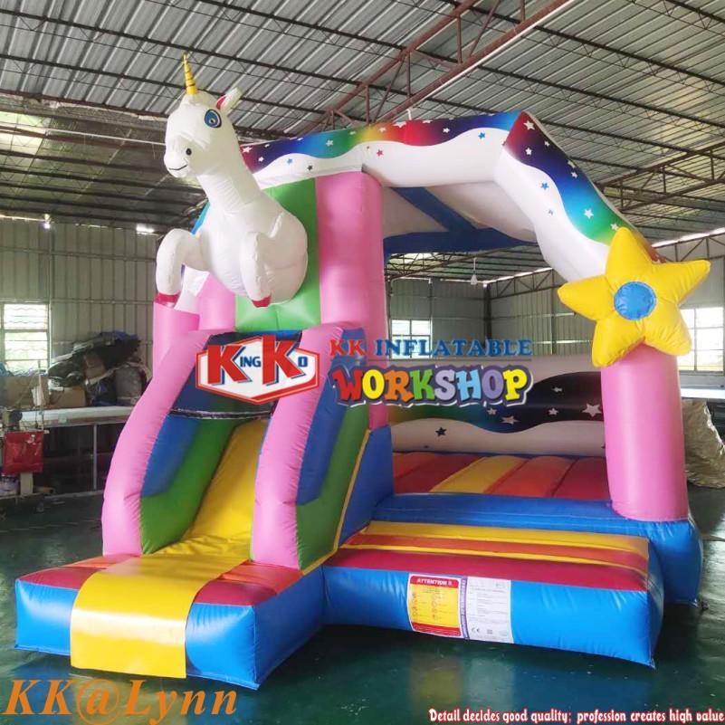 KK Supplier Inflatable Unicorn Bounce Moonwalk House With Slide