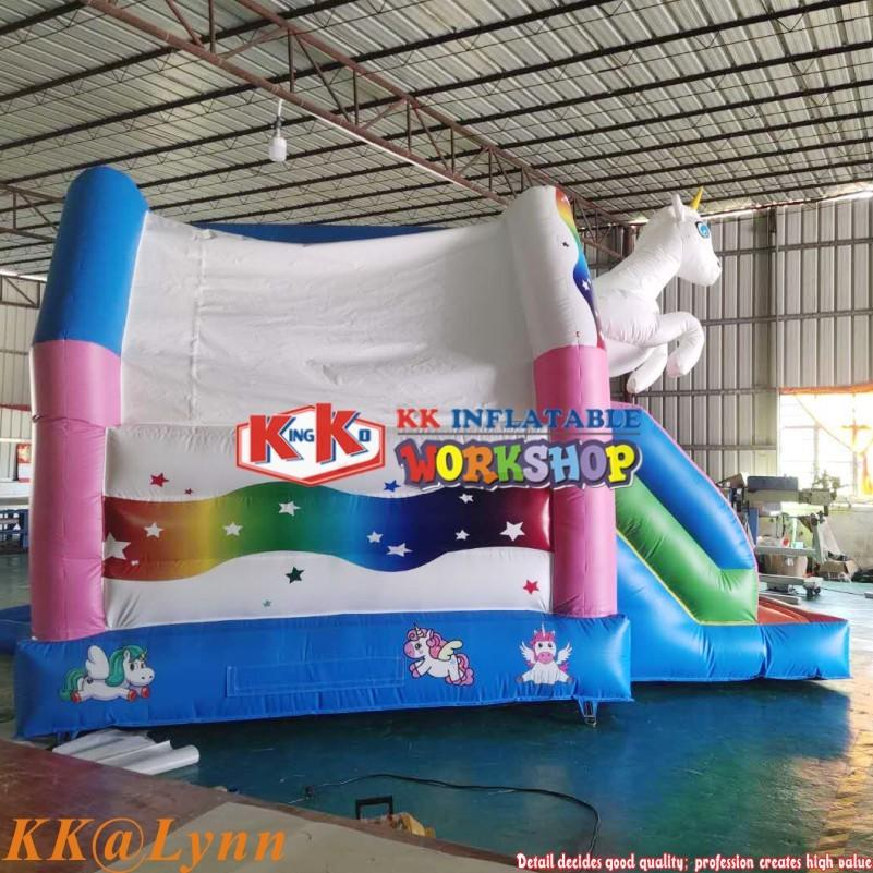 KK Supplier Inflatable Unicorn Bounce Moonwalk House With Slide