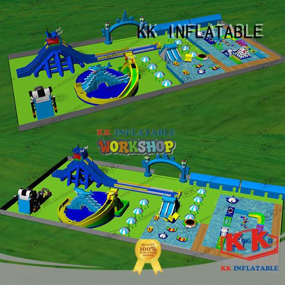 blue kids inflatable water park multichannel for children KK INFLATABLE