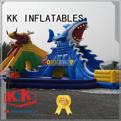 blue inflatable water parks factory price for children KK INFLATABLE