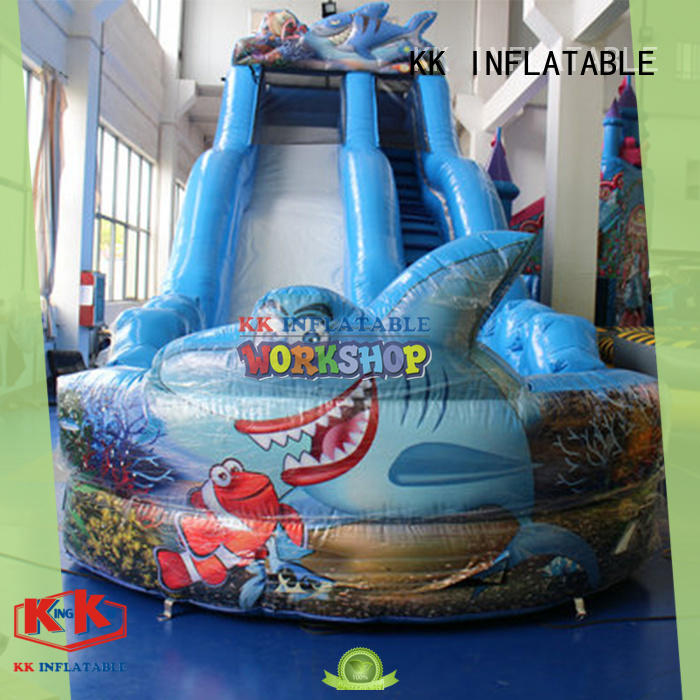 KK INFLATABLE fire truck shape kids water slide manufacturer for playground