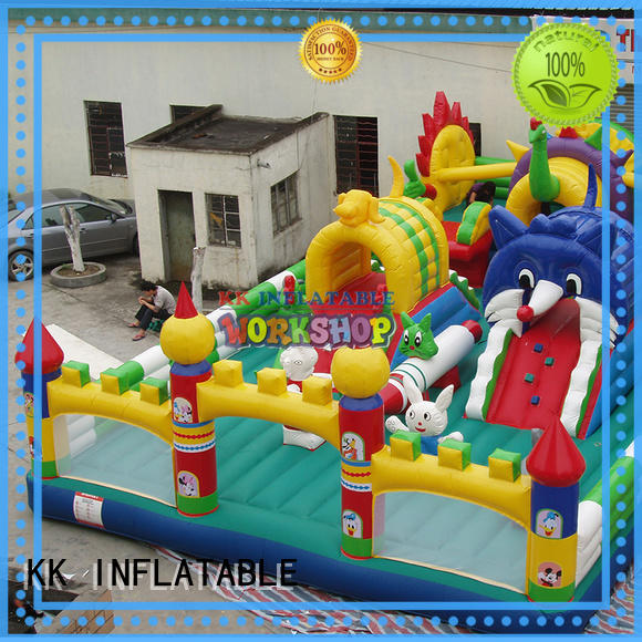 castle blow up obstacle course advertising for adventure KK INFLATABLE