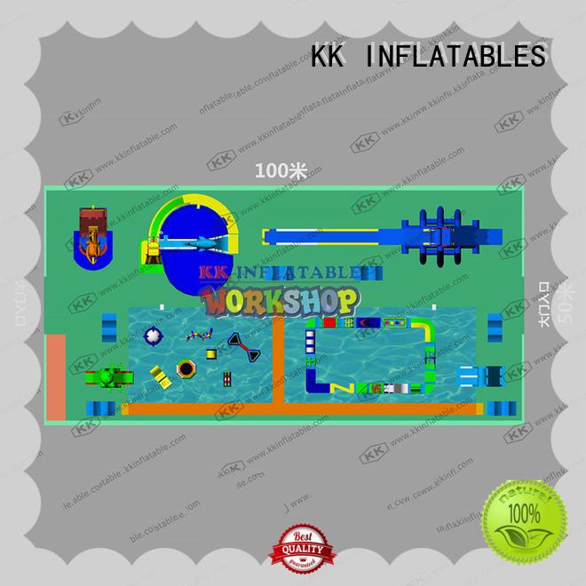 multichannel inflatable water parks blue for amusement park KK INFLATABLE