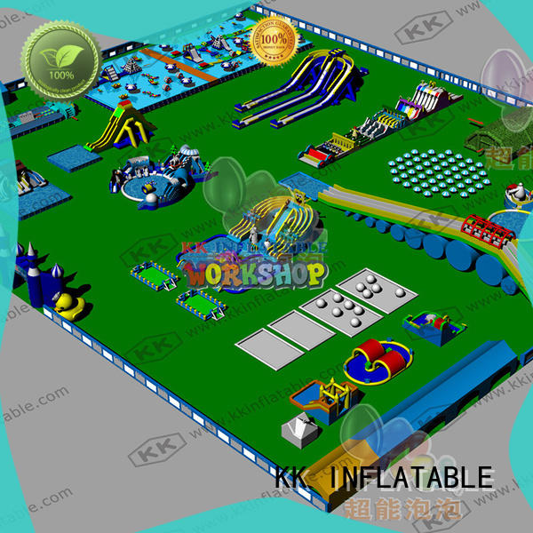 multichannel inflatable water parks factory price for beach KK INFLATABLE